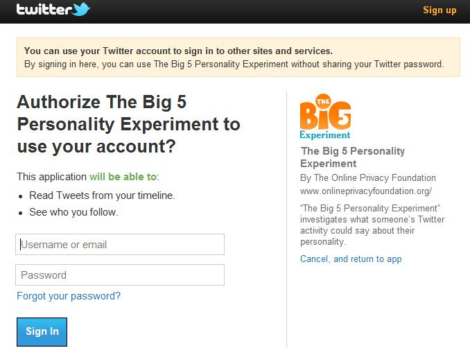 Privacy Policy (Twitter Big 5 Experiment) - The Online